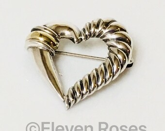 David Yurman Classic Cable Heart Brooch Lapel Pin Two Tone 925 Sterling Silver & 14k Yellow Gold Free US Shipping