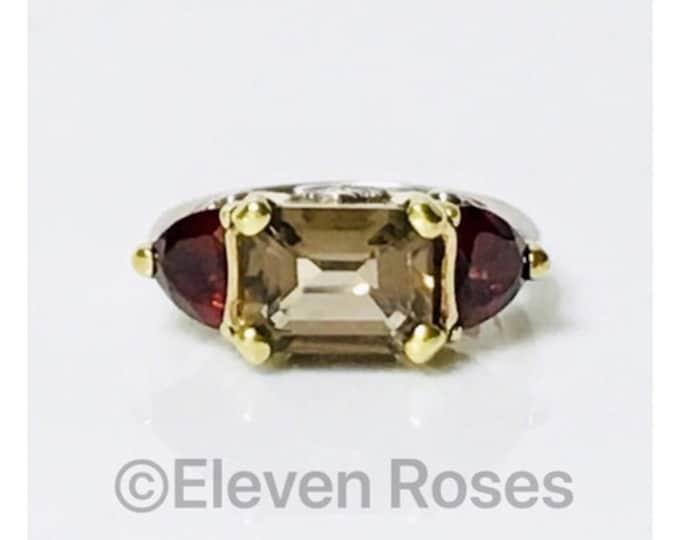 Lagos Caviar Smoky Quartz & Garnet Three Stone Ring 925 Sterling Silver 750 18k Gold Free US Shipping