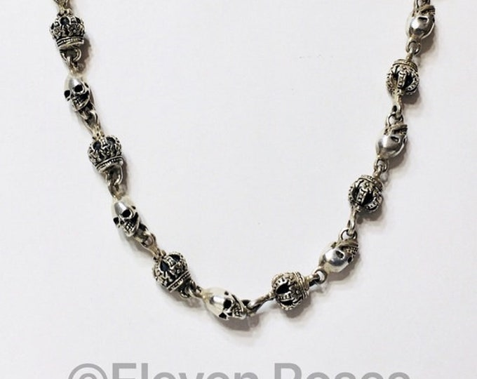 Gothic Biker Style 925 Sterling Silver Skull & Crown Chain Link Necklace Free US Shipping