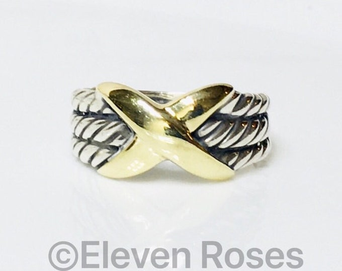 David Yurman Unisex Classic Cable Three Row X Crossover Ring 925 Sterling Silver & 585 14k Gold Free US Shipping