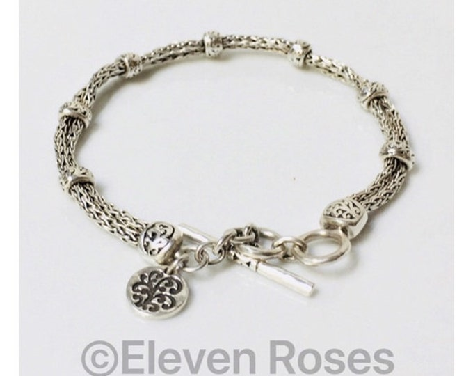 Lois Hill Woven Chain Station Bracelet 925 Sterling Silver Free US Shipping