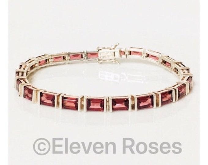 Vintage Garnet Tennis Bracelet 925 Sterling Silver Free US Shipping