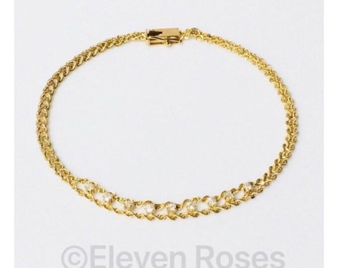 Vintage 14k Gold Diamond Rope Tennis Bracelet Free US Shipping