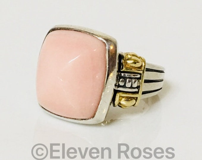 Lagos Caviar Rose Quartz Cabochon Cocktail Statement Ring 925 Sterling Silver 750 18k Gold Free US Shipping