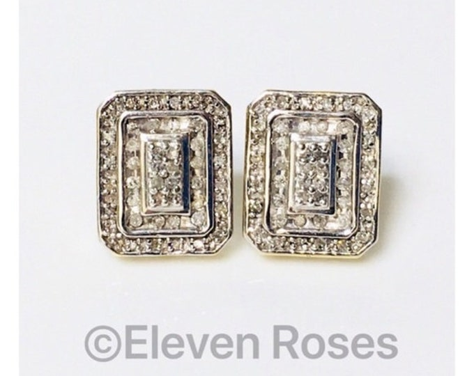 Solid 10k White Gold & Yellow Gold Diamond Statement Earrings Free US Shipping