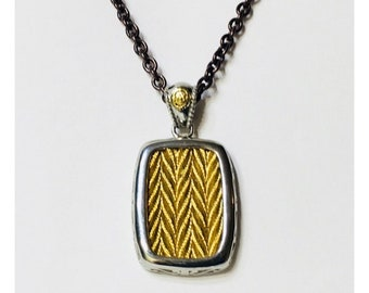 Charriol 750 18k Gold Bronze Steel Cable Inlay Pendant Chain Necklace Free US Shipping