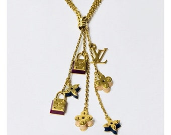 Louis Vuitton Sweet Charms Sautoir Necklace Gold LV Multi Chain Free Shipping
