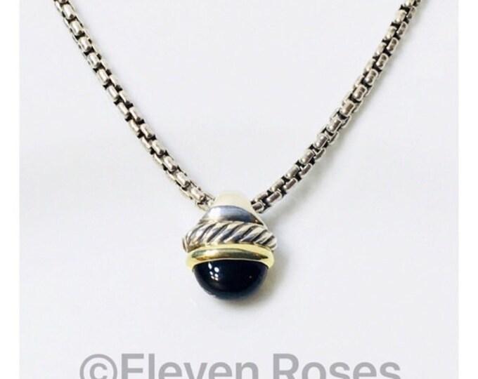 David Yurman Onyx Acorn Pendant Box Chain Necklace DY 925 585 14k Gold Sterling Silver Free US Shipping