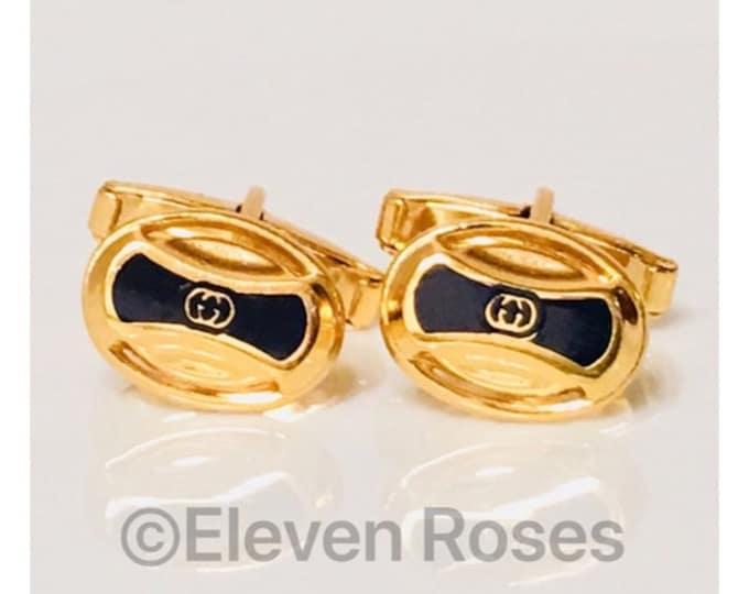 Vintage Gucci Gold Tone GG Enamel Cufflinks Cuff Links Free US Shipping