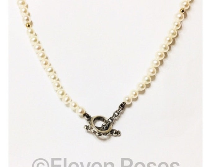 Lagos Caviar Pearl Toggle Necklace 925 Sterling Silver 750 18k Gold Free US Shipping