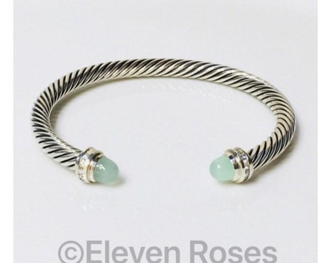 David Yurman Classic Cable Chalcedony Diamond Cuff Bracelet DY 925 Sterling Silver Free US Shipping