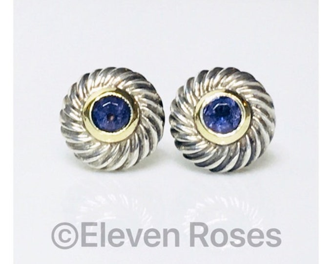 David Yurman Classic Cable Iolite Cookie Disc Earrings DY 925 Sterling Silver 585 14k Gold Free US Shipping