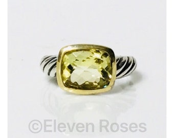 David Yurman Lemon Citrine Noblesse Ring DY 925 Sterling Silver 750 18k Gold Free US Shipping