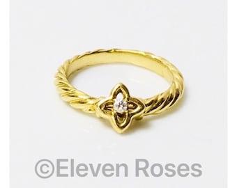 David Yurman Solid 750 18k Gold Diamond Venetian Quatrefoil Ring Free US Shipping