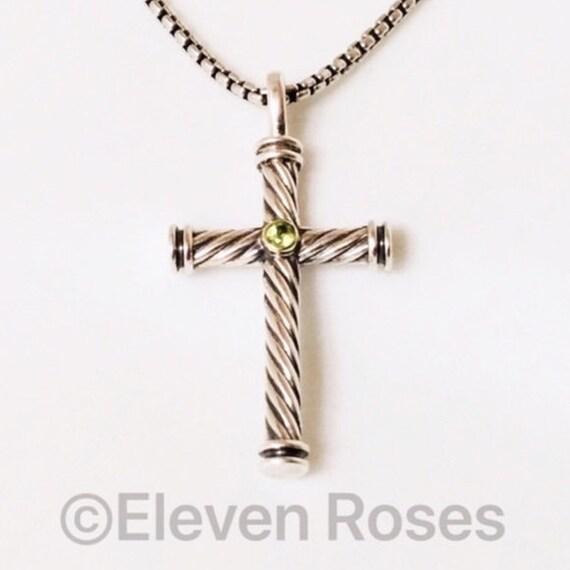 3b6e3989c96235 David Yurman Peridot Cable Cross Pendant & Box Chain Necklace | Etsy