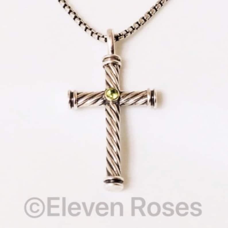 b0ec8384283b David Yurman Peridot Cable Cross Pendant   Box Chain Necklace