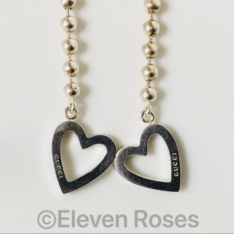 81ebfd5bb90 Gucci Toggle Heart Long Beaded Ball Chain Dangle Drop Earrings