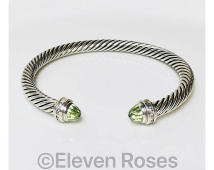 David Yurman Classic Cable Prasiolite Diamond Cuff Bracelet DY 925 Sterling Silver Free US Shipping