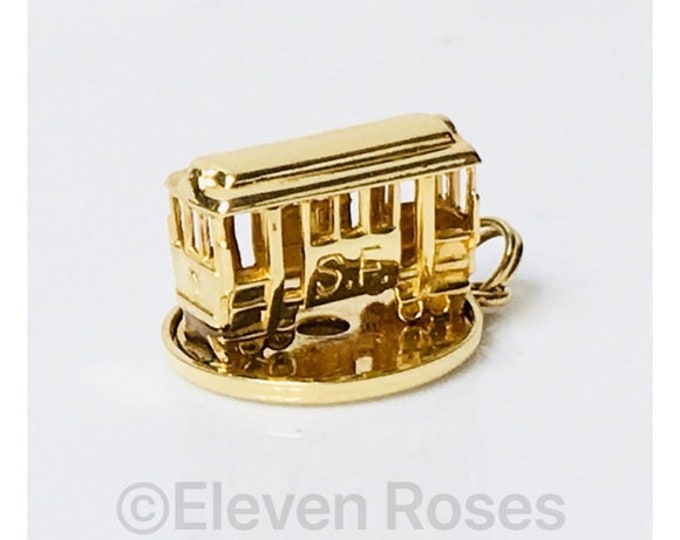 Vintage 14k Gold San Francisco Mechanical Trolley Cable Car Charm Free US Shipping