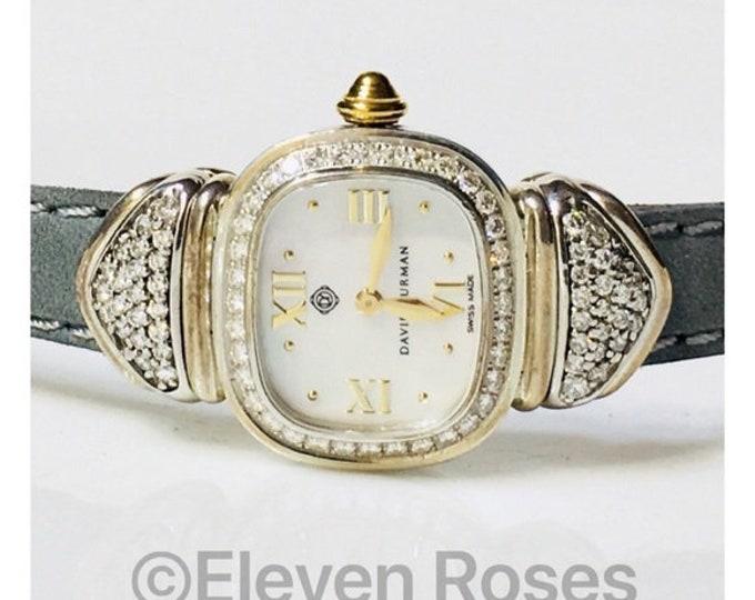 David Yurman Diamond Capri Watch 925 Sterling Silver 585 14k Gold Free US Shipping