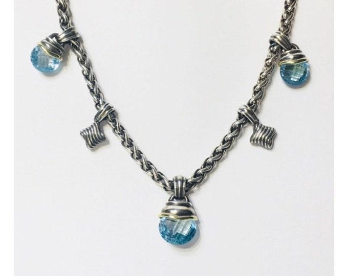 David Yurman Blue Topaz Acorn Quatrefoil Drop Necklace DY 925 Sterling Silver 585 14k Gold Free US Shipping