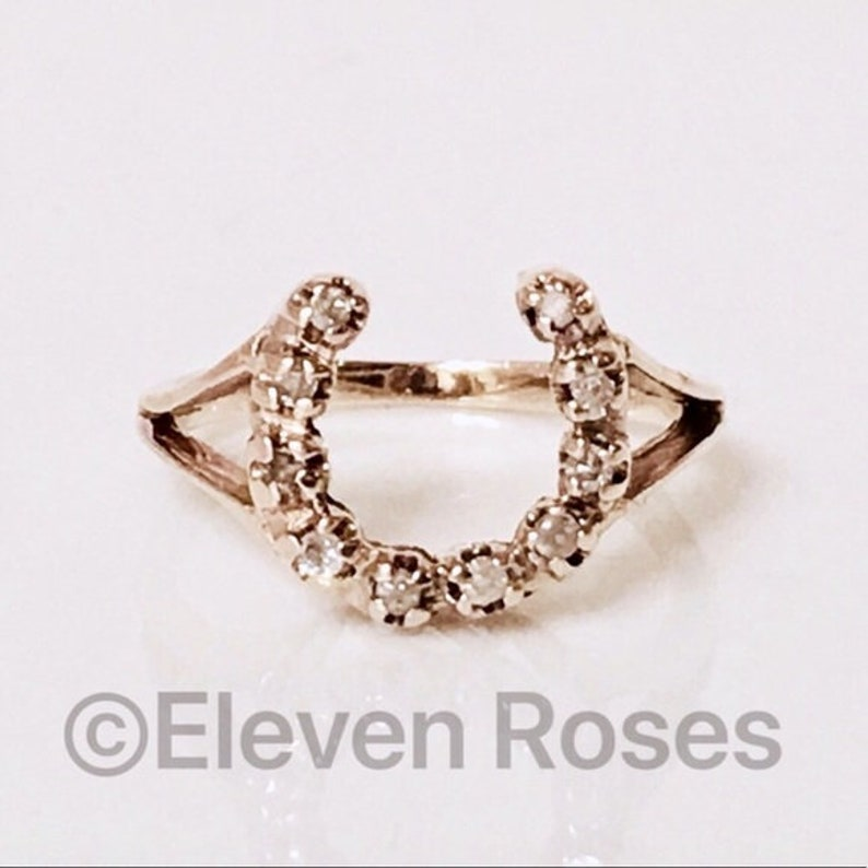 f9a078706a865 Vintage 585 14k Gold & Diamond Horseshoe Horse Shoe Ring Free US Shipping