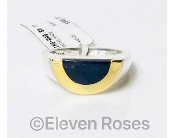 Movado Black Onyx Radius Ring 925 Sterling Silver & 750 18k Gold Free US Shipping