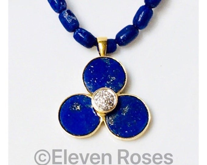 Vintage 14k & 18k Gold Lapis Lazuli Diamond Pendant Bead Strand Necklace Free US Shipping