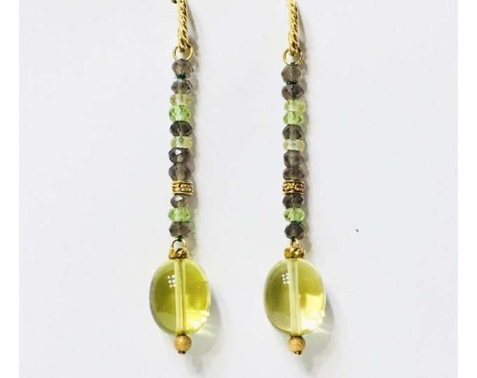 David Yurman 750 18k Gold Prasiolite Diamond Quartz Citrine Tweejoux Long Drop Dangle Earrings US Shipping