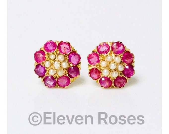 Vintage 750 18k Gold Pearl & Ruby Earrings Free US Shipping