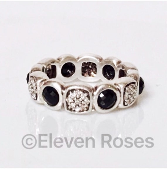 db6876a9b7f64 David Yurman Black Onyx   Diamond Chiclet Band Ring DY 925