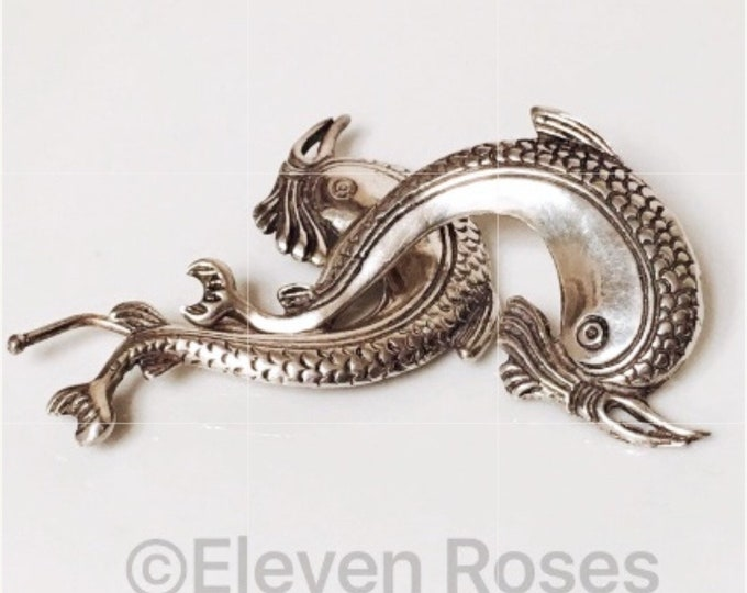 Vintage European 925 Sterling Silver Fish Jewelry Clips Extra Large Statement Greece Pipis Jewelry Free US Shipping