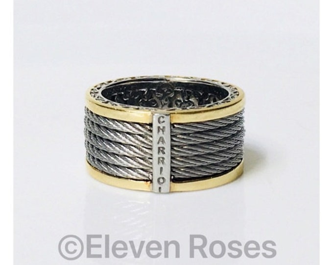 Charriol Classique Wide Band Ring Steel Cable 750 18k Gold Free US Shipping