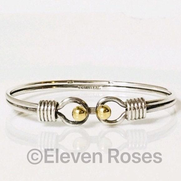 df40598fb Tiffany & Co. Double Hook Eye Loop Bangle Bracelet 925 Sterling Silver 750  18k Free US Shipping