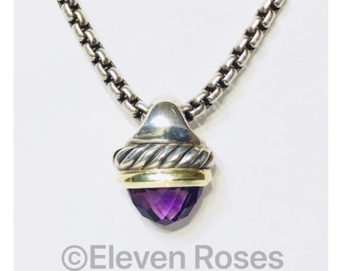 David Yurman Amethyst Acorn Pendant Box Chain Necklace DY 925 Sterling Silver 585 14k Gold Free US Shipping