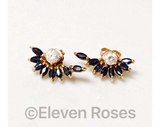 10k Gold Dark Blue Sapphire Stud Earrings Enhancer Halo Jackets Free US Shipping