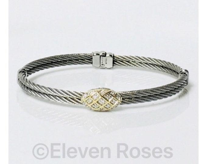 Charriol Oval Diamond Station Bangle Bracelet 750 18k Steel Cable Free US Shipping