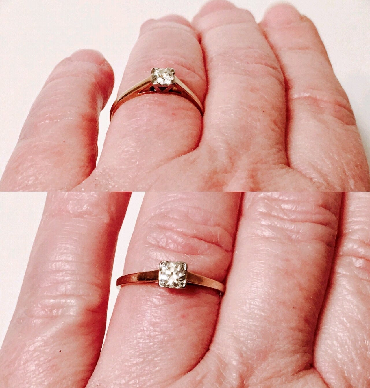 Vintage 585 14k Gold Diamond Solitaire Engagement Ring Free US Shipping