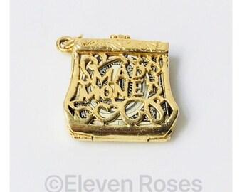 Vintage 14k Gold  Mad Money Purse Bag Hinged Charm Free US Shipping