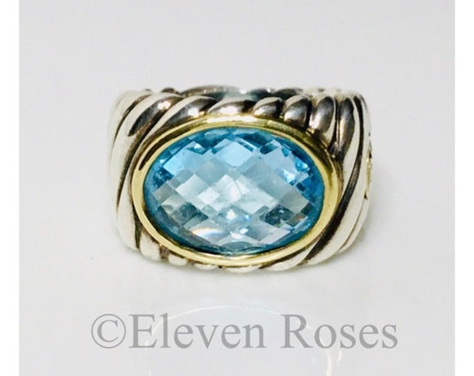 David Yurman Large Classic Cable Blue Topaz Ring 925 Sterling 750 18k Gold Free US Shipping