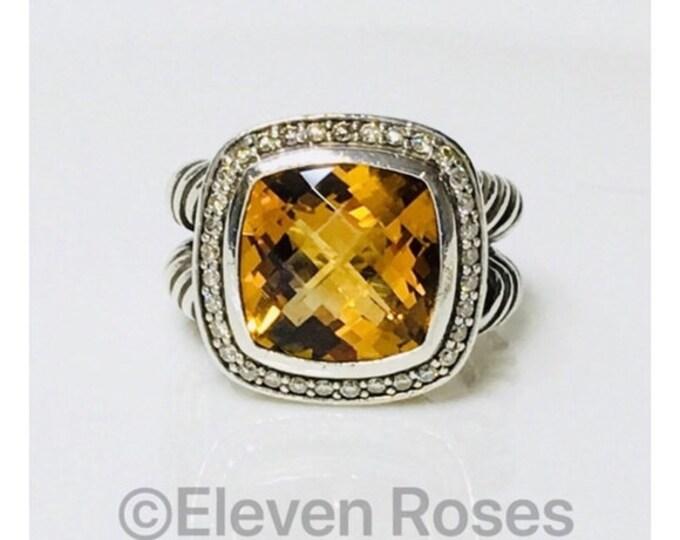 David Yurman Golden Citrine Diamond Albion Ring 925 Sterling Silver Free US Shipping