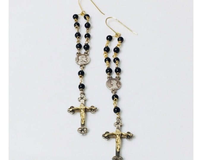 Vintage Long Onyx Rosary Bead Cross Dangle Earrings 925 Sterling Silver 585 14k Gold Free US Shipping