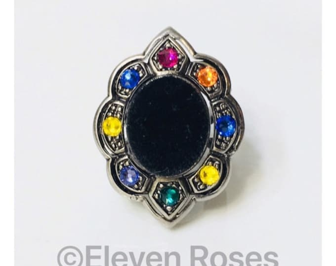 Gucci Black Velvet Crystal Cocktail Ring Free US Shipping