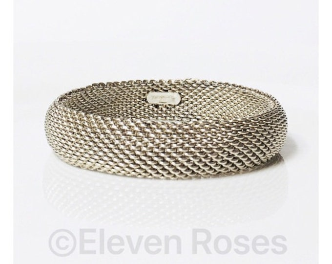 Tiffany & Co. Mesh Chain Somerset Bangle Bracelet 925 Sterling Silver Free US Shipping