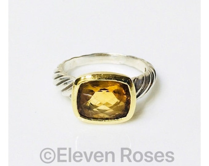 David Yurman Golden Citrine Noblesse Ring DY 925 Sterling Silver 750 18k Gold Free US Shipping