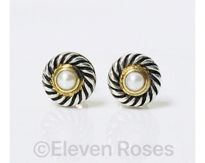 David Yurman Pearl Classic Cable Cookie Stud Earrings 925 Sterling Silver 585 14k Gold Free US Shipping
