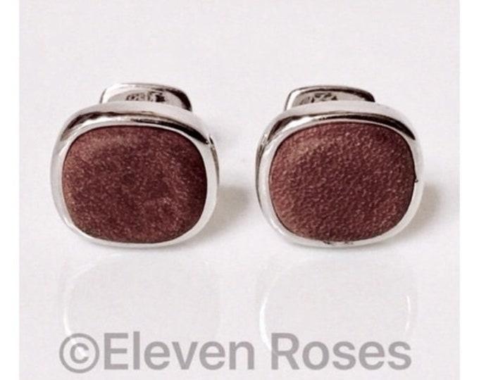David Yurman Brown Leather Cushion Cufflinks Cuff Links DY 925 Sterling Silver Free US Shipping