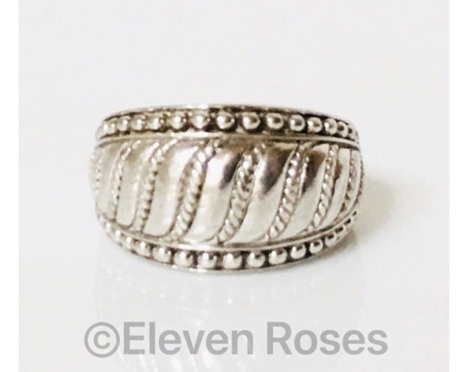 Judith Ripka 925 Sterling Silver Rope Textured Dome Statement Ring Free US Shipping