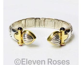 Vintage Stevens Pink Tourmaline Cabochon Segmented Expansion Cuff Bracelet 925 Sterling Silver 750 18k Gold Free US Shipping