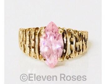 Vintage 10k Gold Pink Morganite CZ Stone Ring Free US Shipping